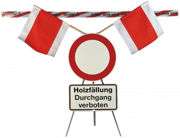 Warnständer Freiberg, komplett mit kleinen Schildern