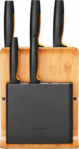 Fiskars Bambus-Messerblock mit 5 Messern