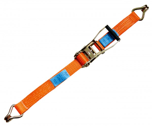 Zurrgurt mit Druckratsche zur Ladungssicherung mit Spitzhaken nach EN 12195-2