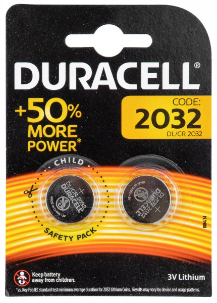 Pile type bouton Duracell CR2032 lot de 2