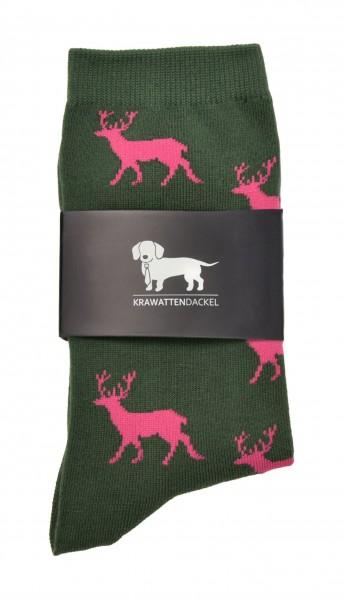 Krawattendackel Socken mit Hirsch