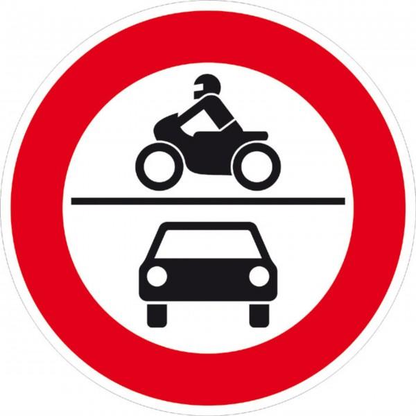 Schild Verbot für Krafträder, Mofas und Kfz, reflektierend