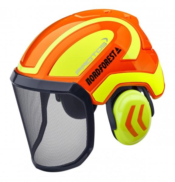 Protos Kopfschutz-Kombination Integral Forest orange-neongelb